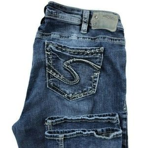 Silver Aiko Mid Slim Bootcut Super Stretch Jeans